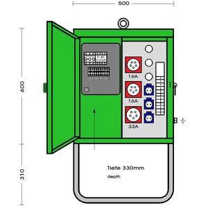 V 40N/A/321-1, Verteilerschrank im Gehäuse aus verzin