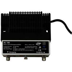 AL 108, Hausanschlussverstärker 20 dB Verstärkung Vorweg, Ausgangspegel Vorweg 96 dBµV,  Dämpfungssteller Vorweg 0 - 10 dB, ohne Rückweg