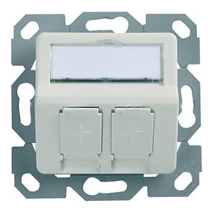 HAMJA2UP50PW, Modul-Aufnahme 50x50, 2-fach, UP/50 BR unbestückt, für Unterputz-Anwendungen, perlweiß, 30°Auslass,