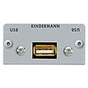 Anschlussblende mit Kabelpeitsche, USB 2.0 A-Buchse/ A-Buchse, Halbblende, Aluminium eloxiert