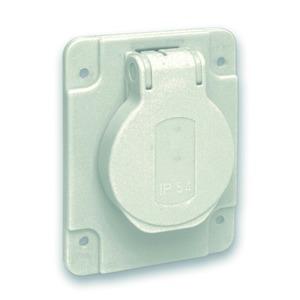 Schukosteckdose, grau, 2p+E, 10/16A, 250 V, für DE, IP54, 65x85mm