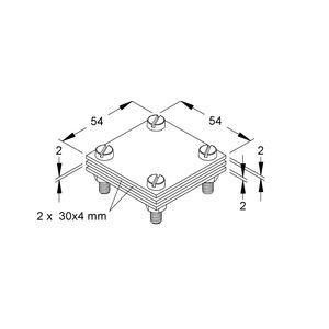 28/30A, Kreuz-Verbinder 54x54x2 mm mit Klemmplatte, für Flachleiter, Stahl, feuerverzinkt DIN EN ISO 1461