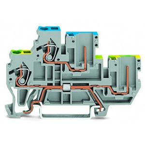 870-127, 1-Leiter/1-Pin-Doppelstock-Basisklemme PE/L 2,5 mm² grau