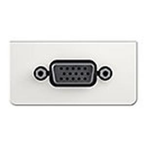 Anschlussblende mit Gender Changer, VGA (HD15), Halbblende, Frontblende aus Kunststoff, RAL 9010 weiß
