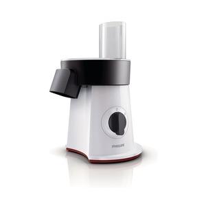 VIVA - 200 W/ SaladMaker mit Pommes frites Scheibe + 5 Schnei/ Reibeeinsätze/ weiß/schwarz mit rotem Akzent