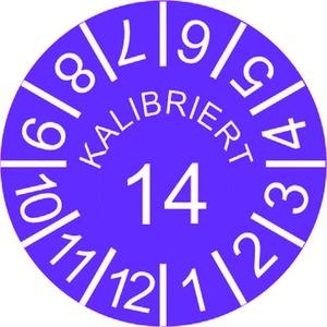 INP-C-K-14, Kalibrier-Plaketten, Jahr 14, violett VPE:10 Karten, 10 Plak/Karte,Preis per VPE