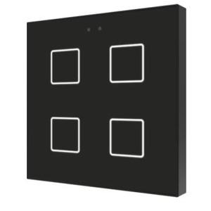 ZVI-F4-A, Zennio Flat 4 Kapazitive Taster mit Temperaturfühler, 4 Taste, schwarz