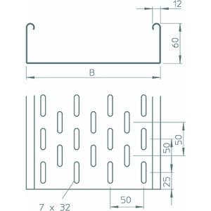 SKS 620 FS, Kabelrinne SKS gelocht, mit Verbinder-Set 60x200x3000, St, FS
