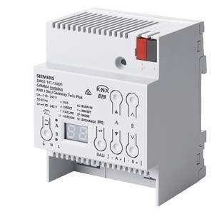 5WG1141-1AB21, KNX/DALI Gateway TWIN plus N 141/21 2x64 DALI EVG, Sensoren 32 Gruppen, 128 einzel-EVG Notbeleuchtung