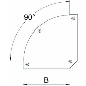 DFBM 90 300 A2, Deckel Bogen 90° für Bogen RBM 90 300 B=300mm, V2A, A2