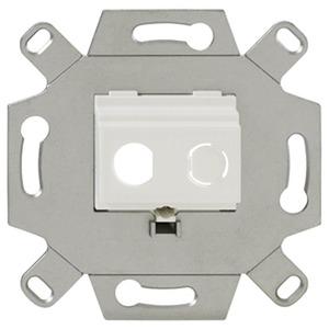 BNC-F-MA Up rw, Up-Montageadapter für BNC-F-Buchsen, 12 mm, 2-fach, für handelsübliche TAE-Zentralstücke, abbrechbarer Tragring für Stegversiion, reinweiß (ähnlich RA