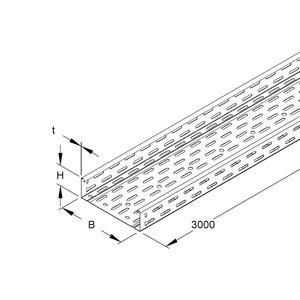 RLC 60.150, Kabelrinne, 60x150x3000 mm, t=0,9 mm, gelocht, durchgängige Sicken, Stahl, bandverzinkt DIN EN 10346