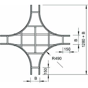 LK 630 NS FS, Kreuzung für Kabelleiter mit NS Sprosse 60x300, St, FS