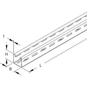 RL 50.050 F OV, Mini-Kabelrinne, 50x50x3000 mm, t=0,75 mm, gelocht, Stahl, feuerverzinkt DIN EN ISO 1461, ohne Verbinder