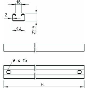 MS4022P1192FT, Profilschiene als Sprosse verwendbar 1192x40x22,5, St, FT