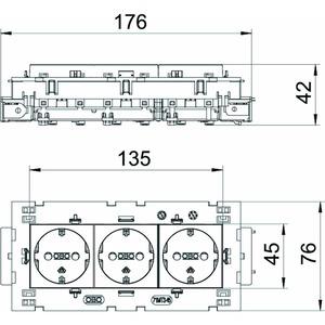 STD-D0C8 MZGN3, Steckdose 0°, 3-fach Schutzkontakt, Connect 80 250V, 10/16A, PC, minzgrün, RAL 6029
