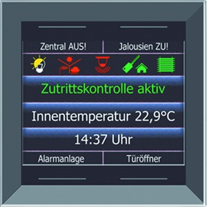 "LCN - GTS4DB, Glas-Farbdisplay 2,8"", mit schmalem Rahmen, schwarz, mit 4 Tasten, integr. TS"