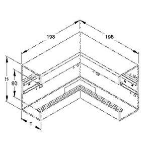 BI1308.6, Inneneck 90°, mit Bodenlochung, 133x66 mm, Kunststoff PVC-hart, RAL 9001, cremeweiß