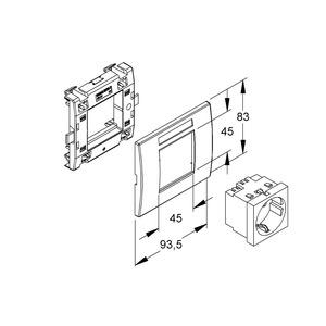 KES-1.3.15, Geräteeinbausystem,vorkonfektioniert,Einbaubreite 93,5 mm, NV=250V/16A, Einsatz, RAL 3003, rubinrot, Abdeckung RAL 9010,