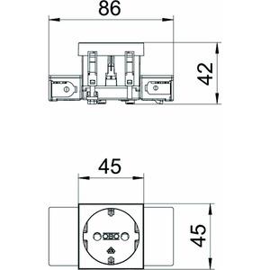 STD-D0C SWGR1, Steckdose 0°, 1-fach Schutzkontakt, Connect 45 250V, 10/16A, PC, schwarzgrau, RAL 7021