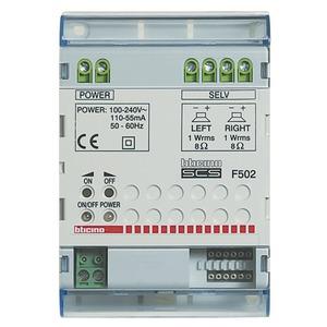 Stereo-Reiheneinbauverstärker, Leistung 16?W pmpo an 8 Ohm, Stromversorgung 230?V a.c., 4 TE DIN
