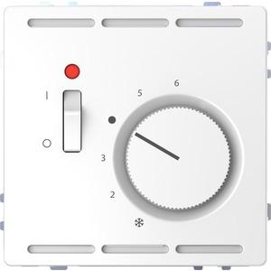 Raumtemperaturregler 230 V m. Schalter u. Zentralpl., Lotosweiß, System Design