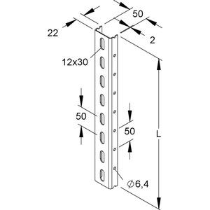 U 50/300 F, U-Profil, 50x22x300 mm, gelocht, Stahl, feuerverzinkt DIN EN ISO 1461
