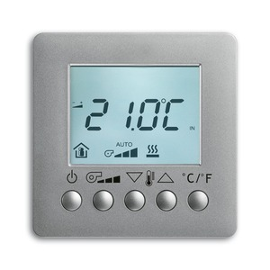 6138/11-83, Raumtemperaturregler Fan Coil mit Display, AP, alusilber, Busch-Installationsbus KNX, Raumtemperaturregler Objektbereich