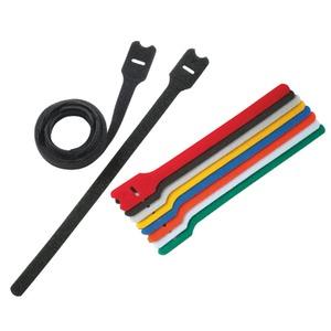 Klettverschluss-Kabelbinder, Schleife, schwarz, 203 mm