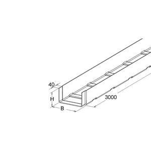 KK 110.200, GFK-Kabelrinne, 110x200x3000 mm, angeformtem Verbinder, ungelocht, Polyester glasfaserverstärkt, gepresst, RAL 7032, kieselgrau