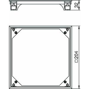 BAU E 7011, Bodenbelag-Anlegerahmen für ZDE 204x204mm, PA, eisengrau, RAL 7011