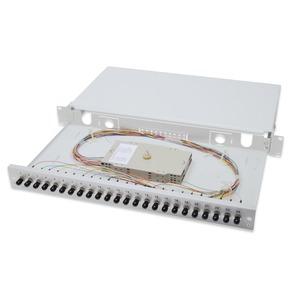 Ausziehbare Glasfaser - Spleißbox, 1U, Equipped  24x ST duplex, inkl. PG 16 Schraube, Spleißkassette Farbige Pigtails OM4, Adapter
