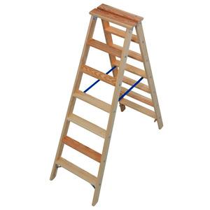 STABILO Stufen-DoppelLeiter Holz, 2x7 Stufen