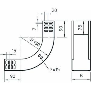 RBV 630 S FS, Vertikalbogen 90° steigend 60x300, St, FS