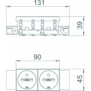 STD-F0C SWGR2, Steckdose 0°, 2-fach mit Erdungsstift, Connect 45 250V, 10/16A, PC, schwarzgrau, RAL 7021
