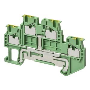 XW5G-P1.5-1.1-2, Erdungsklemme, Doppelstock, DIN-Hutschiene, Push-In Plus, TS 35, 1 mm², grün-gelb