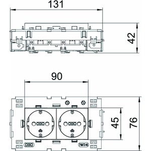 STD-D0C8 ROR2, Steckdose 0°, 2-fach Schutzkontakt, Connect 80 250V, 10/16A, PC, reinorange, RAL 2004