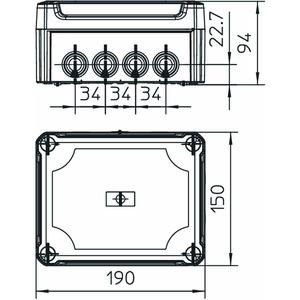 T 160 HD LGR, Kabelabzweigkasten mit hohem Deckel 190x150x94, PP/PC, lichtgrau, RAL 7035