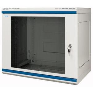 NWS-4A18/GL/ZS/SW, Wandgehäuse, 19 Zoll, 2-teilig, T=400mm, 18HE, Tür, Glas, +Zylinderschloss