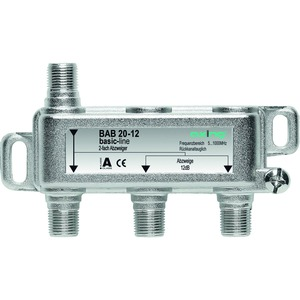 Abzweiger, 2-fach, 14 dB, 5-1006 MHz, F-Stecker, hohe Rückflussdämpfung, basic