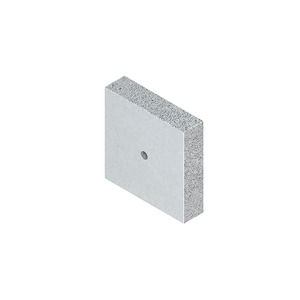 BSP 120.120.30, Brandschutzplatte, vorgebohrtes Loch Ø 10 mm, 120x120x30 mm, Leichtbetonplatte, glasfaserbewehrt, zementgebunden, grau
