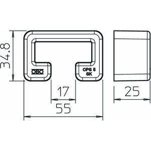 MS5030 SK, Schutzkappe für Profilschiene MS5030 55x25mm, PE, pastellorange, RAL 2003