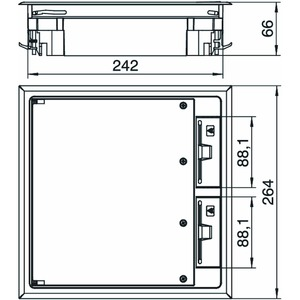 GES9 10U 7011, Geräteeinsatz für Kanalmontage 264x264x66, PA, eisengrau, RAL 7011