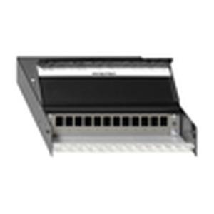 CP-UM A-12 Ap, Kabelverzweiger (Consolidationpoint) zur Aufnahme von max. 12 Universalmodulen UM-Cat.6A iso A, UM-Cat.6A iso U A und KMK-Keystone-Modulen, schwenkbar